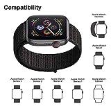 Corki für Apple Watch Armband 38mm 40mm, Weiches Nylon Ersatz Uhrenarmband für iWatch Apple Watch Series 4 (40mm), Series 3/ Series 2/ Series 1 (38mm), Rosa Gewebt Schwarz - 4