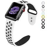VIKATECH Für Apple Watch Armband 42mm, Weiche Silikon Ersatz Armbänder für Apple Watch Armband 42mm Series 3/2 / 1, Sport, Edition, M/L, Weiß/Schwarz - 3